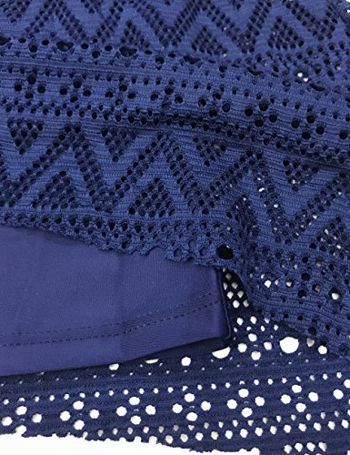 FLYILY Damen Streifen Tankini Sets Bikini Mesh Bademode Badeanzug Bademode DarkBlue