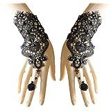 Juland Vingerloze kanten handschoenen vrouwen gotische bloemenkant steampunk-armband ring imitatie parel handgemaakt lace up