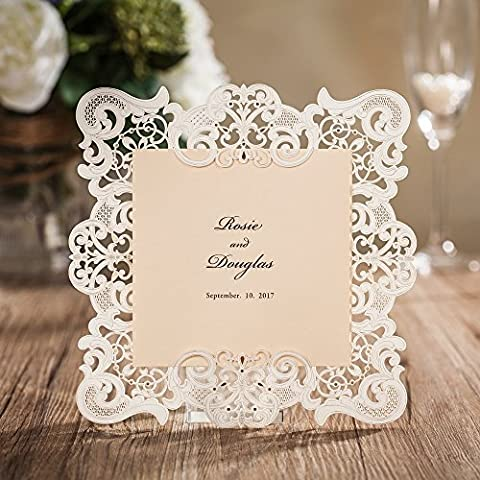 Wishmade Laser Cut Invitations Cards with RSVP For Wedding Birthday Baby Shower Party CW6079 (1 pc)
