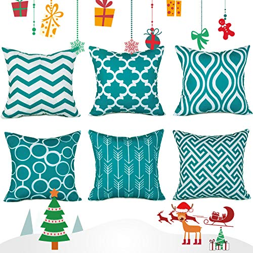 Top finel federe cuscini gatto in cotone lino morbidi quadrati decorativi in divano letto sedia 45x45cm,6pezzi-verde acqua