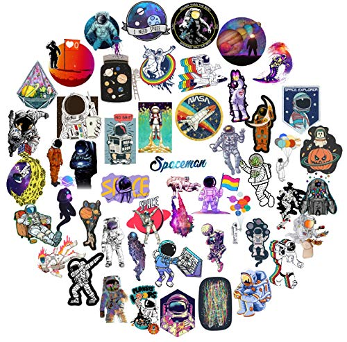 50PCS Outer Space Stickers Graffiti Toys Children Alien UFO Astronaut Station Rocket Ship Planet Skateboard Luggage Trolley Case Decal -