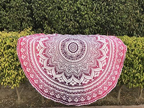 raajsee Indien Strandtuch Rund Mandala Hippie/Groß Indisch Rundes Baumwolle/Boho Runder Yoga Matte Tuch Meditation/Tischdecke Rund aufhänger Decke Picknick handgefertigt Teppich 70 inch - Hippie Mandala