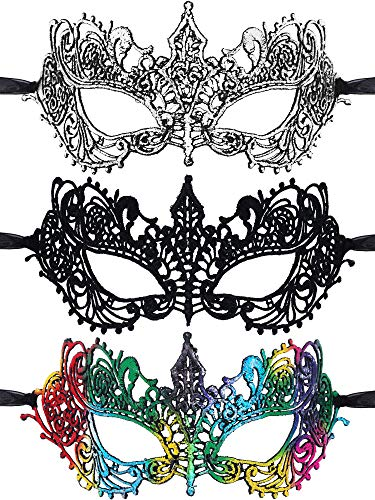 Kostüm Passende Menschen 3 - 3 Stücke Maskerade Masken Venezianische Masken Spitze Augenmasken für Halloween Kostüm Party Abschlussball Gefaleln (Stil 3)