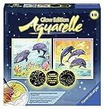 Ravensburger 29442 - Welt der Delfine - Aquarelle Glow Edition, 25 x 25 cm