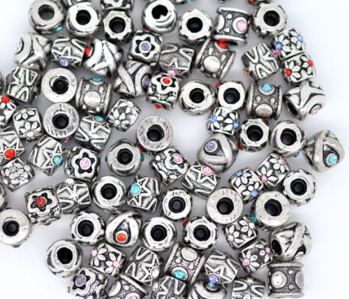 Five (5) Pack of Assorted Antique Silver Tone Crystal Rhinestone Charm Beads. Fits Troll, Biagi, Zable, Chamilia, And Pandora Style Charm Bracelets.