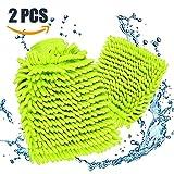 Mture Wasserdicht Mikrofaser Waschhandschuh, (2 Pack) weicher Korallen Autowaschhandschuh Chenille Waschhandschuh Polierer Auto Motorrad 26 x 19 cm Grün