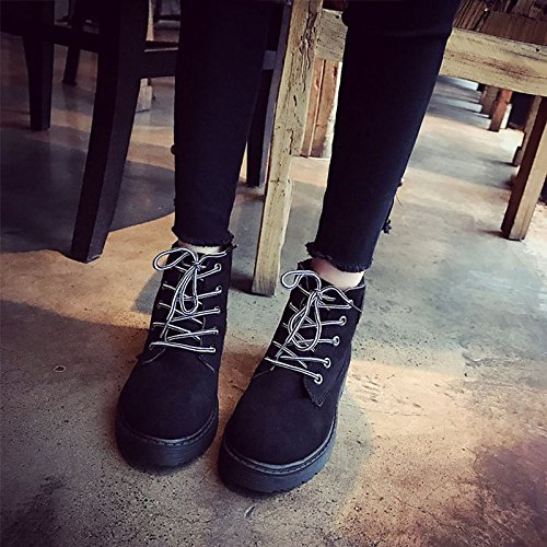Hsxz Zapatos De Mujer Pu Invierno Botas Confort Plano Punta Redonda Para Exterior Negro Marrón Negro