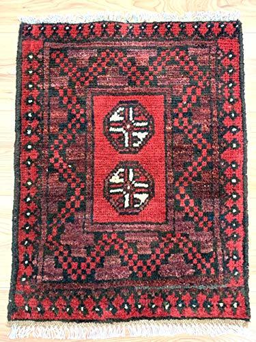 Rugstore-outlet tappeto passatoia afgano aqcha fatto a mano, con frange tribali rosse, 100% lana, 51 x 66 cm