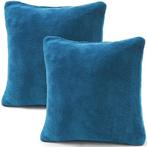 CelinaTex 2er Set Kissenbezug 50x50 cm Doppelpack Coral Fleece Kissenhülle, Dekokissen Bezug Sofakissenbezug Comfortable royal blau 5001337