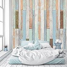 Papel Pintado Madera 274 x 254 cm Fotomurales pared óptico pastel marítimo vendimia tableros panel Incluyendo Pegamento livingdecoration