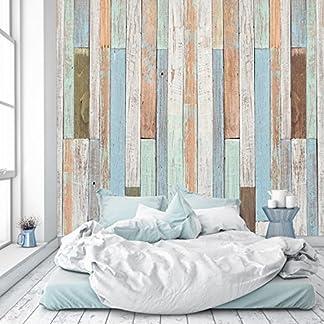 murimage Papel Pintado Madera Pastel 274 x 254 cm Fotomurales óptico 3D marítimo Pared Tabla Vintage Panel Dormitorio Oficina Incluye Pegamento