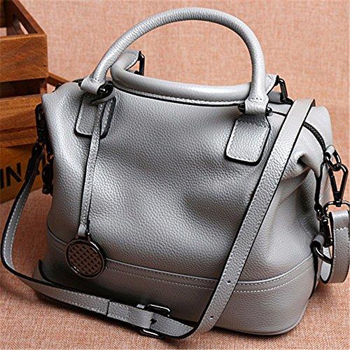 Olio cuoio cera Vintage messenger bag ladies Borsetta donna borsa borse per donne,grigio2 Grigio 2