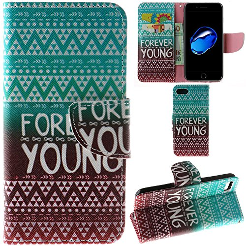 Ooboom® iPhone 8/iPhone 7 Hülle Flip PU Leder Schutzhülle Handy Tasche Case Cover Wallet Standfunktion mit Kartenfächer für iPhone 8/iPhone 7 - Anker Bunt Forever Young