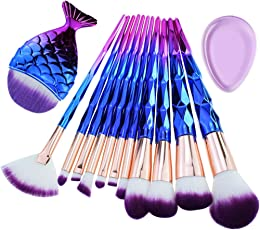 Makeup Brushes Start Makers Diamond Handle Makeup Brush Set with Big Fish Tail Makeup Brush Tool 12Pcs for Foundation Eyeshadow Lips Make Up Brush Kits