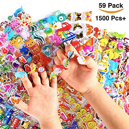 Wavejoe 1500+ Kinder Aufkleber Puffy Sticker Puffy Stickers for Kids and Toddlers, 59 Sheets Puffy Sticker Mega Variety Pack Including Animals, Letters, Foods and More