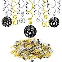 Konsait 60 cumpleaños negro colgar remolino decoración de techo (15 cuentas), feliz cumpleaños & 60 mesa confeti (1.05 oz) para decoraciones de 60 cumpleaños mujer hombre