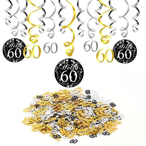 Konsait 60. Geburtstag Swirl Folienspiralen zum Aufhängen (15 Grafen) & Happy Birthday 30 Table Konfetti (1.05 oz) Tisch Dekor für schwarz gold 60. Geburtstag Dekoration Deko