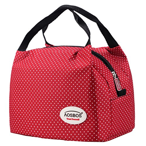 Aosbos Sac Repas Lunch Bag Sac à Déjeuner Sac Fraîcheur Portable Isotherme(Macloon White)