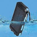 wasserdichte 10000mAh Solar Power Bank, Solar Ladegerät, Externer Akku mit superhelle Taschenlampe, Akku pack für Handy (schwarz-blau) - 4