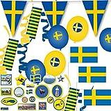 121-teiliges Deko-Set * SCHWEDEN - BLAU-GELB * für eine tolle Länder-Party mit Wimpelkette + 10 Fähnchen + 54 Luftschlangen + 57 Tisch-Konfetti + 8 Luftballons // Skandinavien Mottoparty...