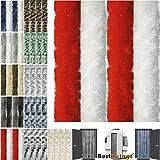 Flauschvorhang 56x185 cm Unistreifen rot - weiß