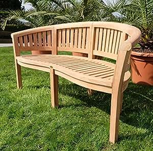 TEAK XXXL Bananenbank Gartenbank Parkbank Sitzbank 3-Sitzer Bank Gartenmöbel 150cm Holz sehr robust Model COCO von AS-S