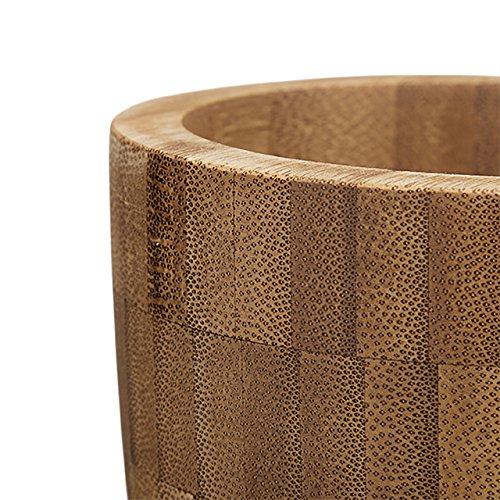 Relaxdays Mortero con pilón bambú, redondo, natural, de gran calidad, especias Mortero, hxbxt: 10,5x 10x 10cm, natural - 3