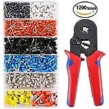 Crimpzangen Set Mit 1200 Aderendhülse Kabelschuhe Crimpwerkzeug für isolierte, unisolierte Drahtseil-Ratschenkabelschuhe 0,25 - 6.0mm²