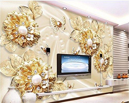 MuralXW 3D stereoskopische Mode Persönlichkeit Klassische Tapete goldenen Blumen Schmuck TV Hintergrund 3D Tapete Wandbild-280x200cm (Dali-tischset)