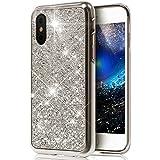 Coque iPhone X,Surakey iPhone X Paillette Bling Glitter Ultra Mince Transparente Coque Silicone Gel TPU Souple Bumper Housse Etui de Protection pour iPhone X, Argent