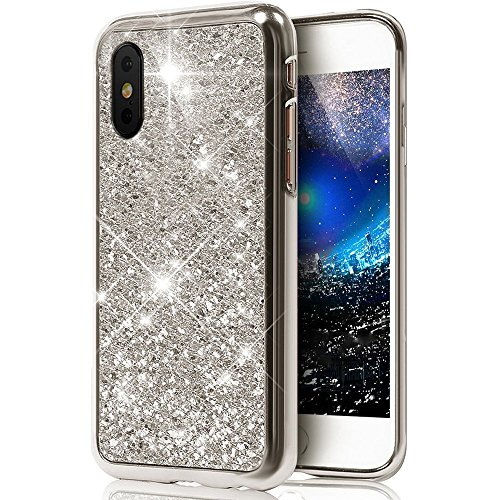 Coque iPhone X,Surakey iPhone X Paillette Bling Glitter Ultra Mince Transparente Coque Silicone Gel TPU Souple Bumper Housse Etui de Protection pour iPhone X, Argent