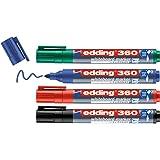 edding 360 whiteboardmarker set - zwart, rood, blauw, groen - 4 whiteboardstiften - ronde punt 1,5 - 3 mm - boardmarker uitwi
