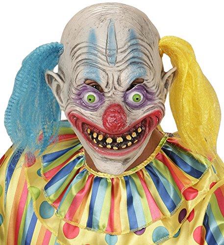 Widmann 00403-Maske Psycho Clown mit Haar zweifarbig, Einheitsgröße
