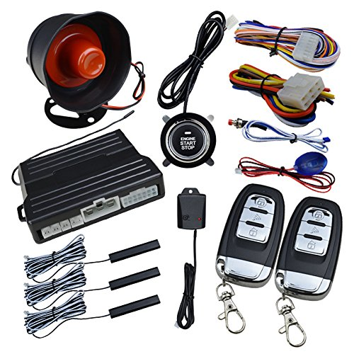 ROONSHIN Smart Key PKE Car Alarm Engine Start Stop Pulsante Sistema di sensori di shock