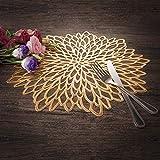 EQI Tischset Rund Gold, Platzset Rund für Hochzeit, Geburtstag, Weihnachten, Rutschfest, Durchmesser 38CM (Gold,6) - 3