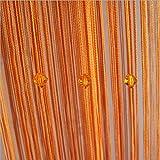 HTOYES Cortina de hilos con cuentas decorativas de, para puertas, pared, ventanas, divisor de habitaciones, cafeterías, etc (Naranja)