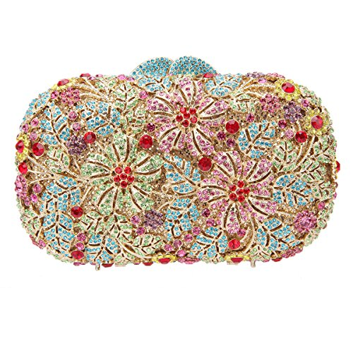 Bonjanvye Shining Rhinestone Flower Purse for Party Wedding Clutch Bags for Ladies Multicolor Multicolor