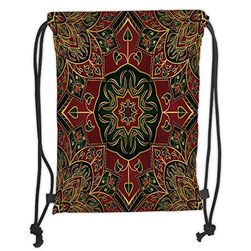 Drawstring Backpacks Bags,Maroon,Asian Nature Ethnicity Figures Eastern Art Fashion Tradition Stylized Flora Decorative,Maroon Green Yellow Soft Satin,5 Liter Capacity,Adjustable S