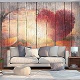 murando - Fototapete Holz Optik 200x140 cm - Vlies Tapete - Moderne Wanddeko - Design Tapete - Wandtapete - Wand Dekoration - Landschaft Baum Herz f-C-0175-a-a