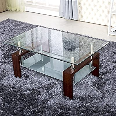Glass Coffee Table Rectangle Walnut Legs with Chrome Modern New