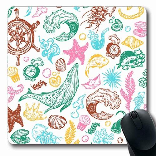 Luancrop Tappetini per Il Computer Bussola Modello di Mare Acquatico Marine Nautica Natura Disegnato Ancoraggio Blob Torace Corallo Disegno Disegno Antiscivolo Mouse da Gioco oblungo