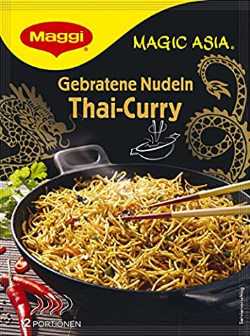 Maggi Asia gebratene Nudeln Thai-Curry, 11er Pack (11 x 130 g Beutel) (Thai Nudeln)