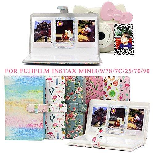 Fotoalbum, 96 Taschen, PU-Leder Sofort-Fotoalbum, für Fujifilm Instax Mini8/9/7S/7C/25/70/90 7,6 cm Mini-Fotoalbum, C