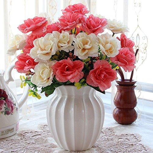 Flinfeays fiori artificiali vaso di ceramica fai da te regalo di festa di nozze cucina casa scrivania decorazione floreale disposizione creativa fiore finto rosso -63