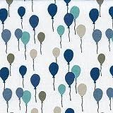 Baumwollstoff | Mehrfarbige Ballons - blau, grau, taupe, beige und grün (Grundfarbe: weiß) - Kollektion Winterfest | 100% Baumwolle | Stoffbreite: 140 cm (pro Laufmeter)*