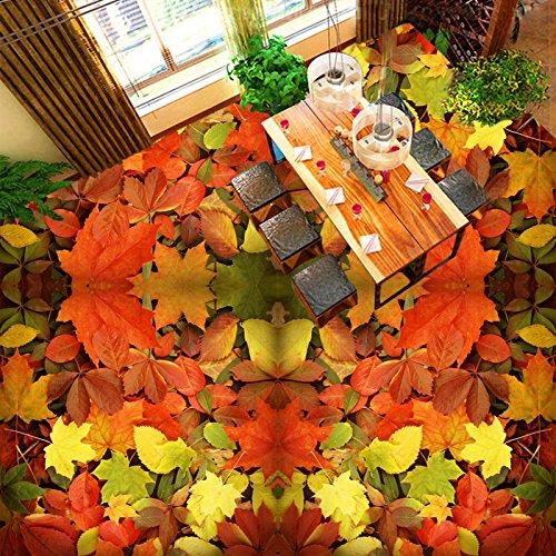 Leegt 3D Tapete Wallpaper Mural Custom Stock Wandbild Tapete 3D Maple Leaf Wohnzimmer Badezimmer Bodenbeläge Wasserdicht Hintergrundbilder Für Wand 300cmX200cm -
