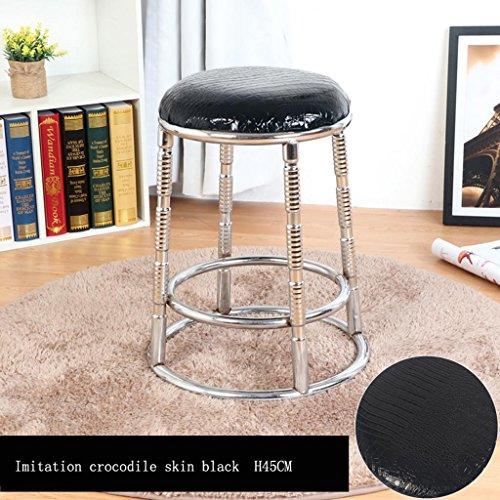 MNII Tabourets de cuisine modernes avec jambes en métal Tabouret haut PU Seat Bar de petit déjeuner, coussin amovible, pied en tabouret en acier inoxydable quatre pieds, hauteur 45cm / 55cm / 65cm / 75cm , 13