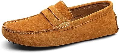 Jamron Uomo Pelle Scamosciata Penny Mocassini Comfort Scarpe da Guida Pantofole