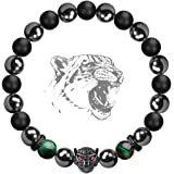 Karseer Black Panther Natural Stone Anxiety Bracelet Healing Crystals and Magnetic Energy Balance Stress Relief Beaded Bracel
