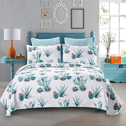 Starsou Moderne Einfachheit Bettwäsche 3-Teilig Tagesdecke Set, Blaue Blume Pflanze Muster Print Quilt Set,1 Bettbezug 230 * 250cm + 2 Kissenbezüge 50 * 70cm -